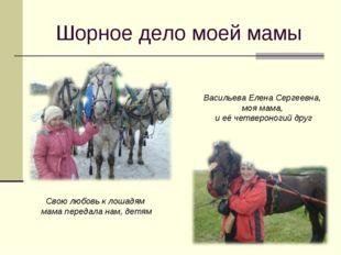 Шорное дело моей мамы Васильева Елена Сергеевна, моя мама, и её четвероногий