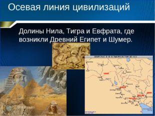 Осевая линия цивилизаций Долины Нила, Тигра и Евфрата, где возникли Древний Е
