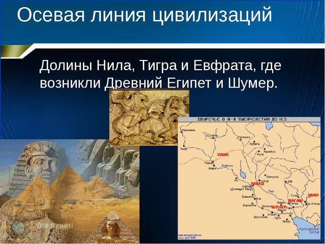 Осевая линия цивилизаций Долины Нила, Тигра и Евфрата, где возникли Древний Е...