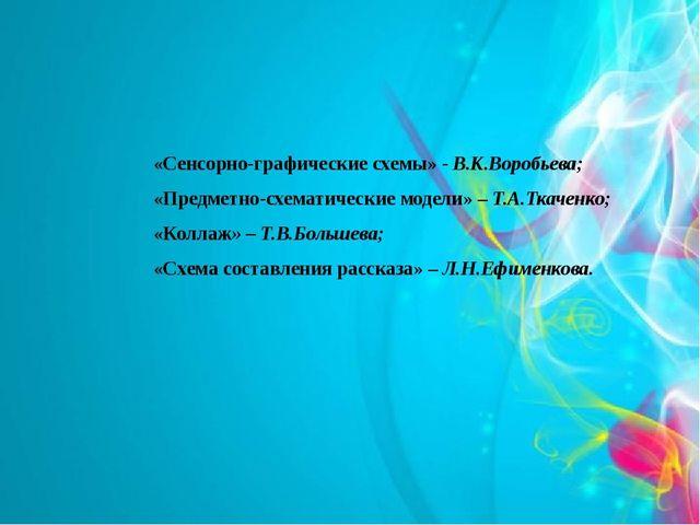 «Сенсорно-графические схемы» - В.К.Воробьева; «Предметно-схематические модели...