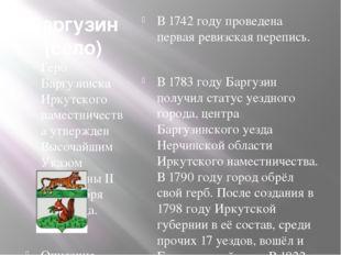 Баргузин (село) Герб Баргузинска Иркутского наместничества утвержден Высочайш