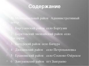Содержание № Муниципальный район Административный центр 1 Баргузинский рай