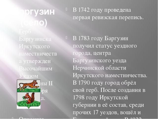 Баргузин (село) Герб Баргузинска Иркутского наместничества утвержден Высочайш...