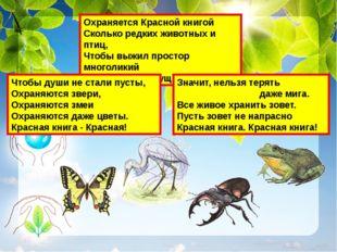 Охраняется Красной книгой Сколько редких животных и птиц, Чтобы выжил простор