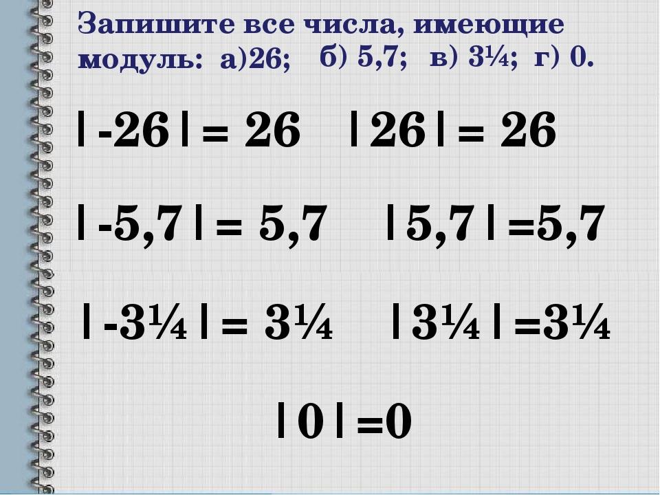 Запишите все числа, имеющие модуль: а)26; |-26|= 26 |26|= 26 б) 5,7; |-5,7|=...