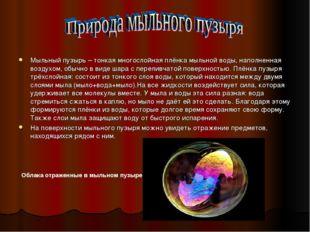 Мыльный пузырь – тонкая многослойная плёнка мыльной воды, наполненная воздухо
