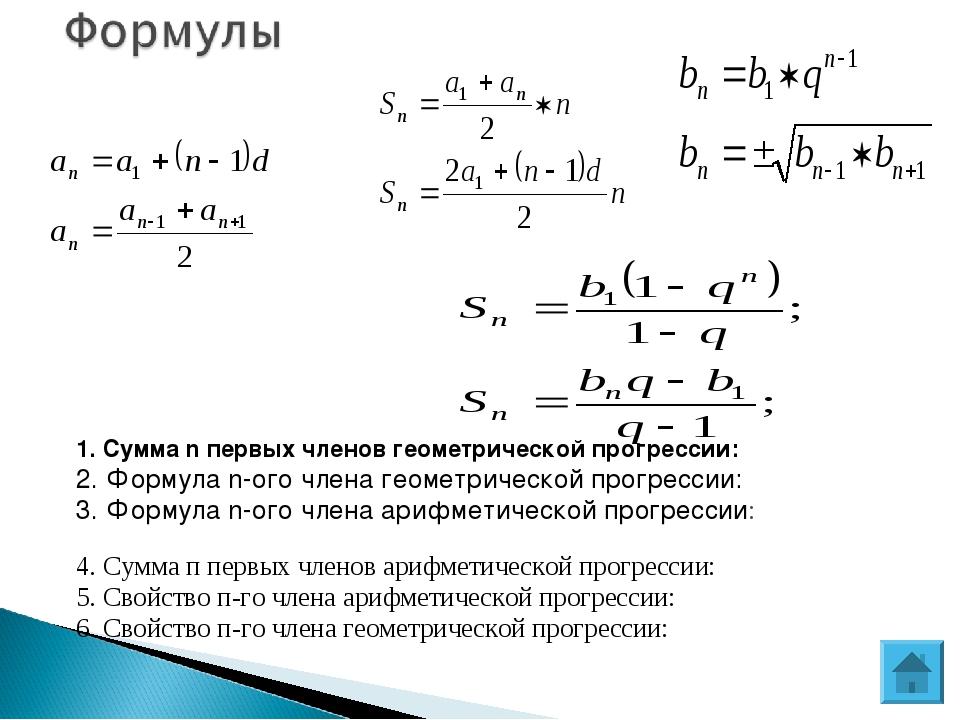1. Сумма n первых членов геометрической прогрессии: 2. Формула n-ого члена г...
