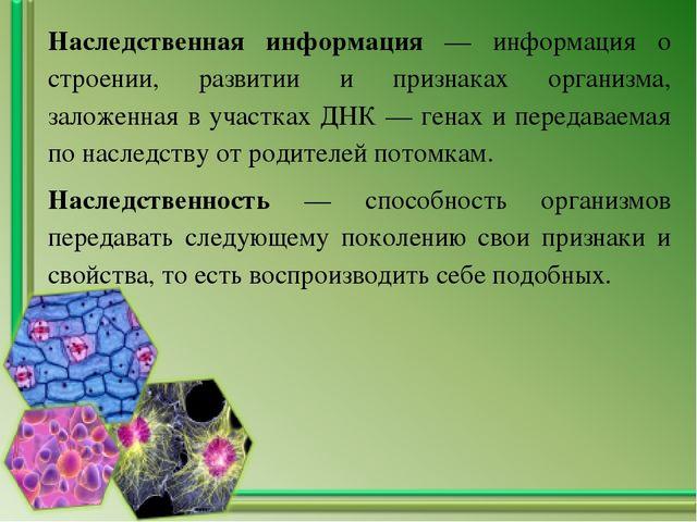 Наследственная информация — информация о строении, развитии и признаках орган...