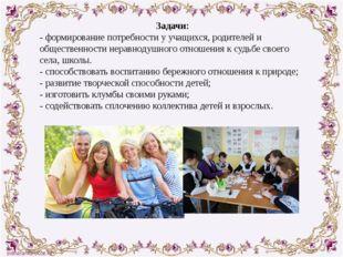 Задачи: - формирование потребности у учащихся, родителей и общественности нер