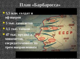 План «Барбаросса» 5,5 млн. солдат и офицеров 5 тыс. самолетов 3,5 тыс. танков