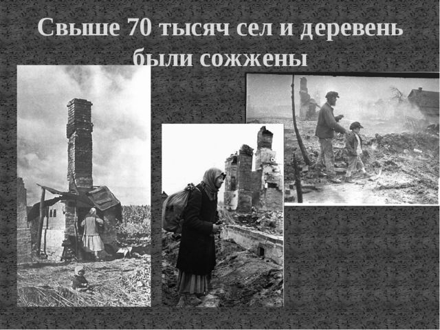 Свыше 70 тысяч сел и деревень были сожжены