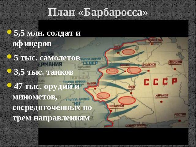 План «Барбаросса» 5,5 млн. солдат и офицеров 5 тыс. самолетов 3,5 тыс. танков...