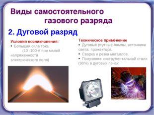 Виды самостоятельного газового разряда 2. Дуговой разряд Условия возникновени