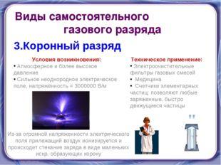 Виды самостоятельного газового разряда 3.Коронный разряд Условия возникновени
