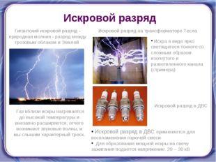 Искровой разряд Гигантский искровой разряд - природная молния - разряд между