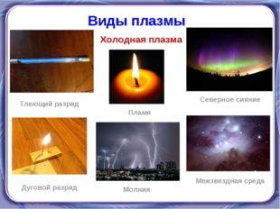 Холодная плазма Виды плазмы Тлеющий разряд Пламя Северное сияние Дуговой разр