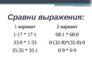 Сравни выражения: 1 вариант 1∙17 * 17∙1 33∙0 * 1∙33 35:35 * 35∙1 2 вариант 68