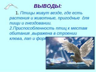 1. Птицы живут везде, где есть растения и животные, пригодные для пищи и г
