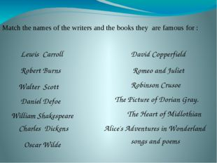Match the names of the writers and the books they are famous for : William Sh