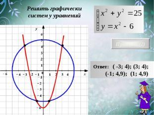 Решить графически систему уравнений Проверка (2) Ответ: ( -3; 4); (3; 4); (-1