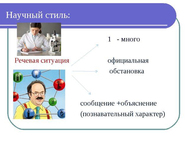 Научный стиль: 1 - много Речевая ситуация официальная обстановка сообщение +о...
