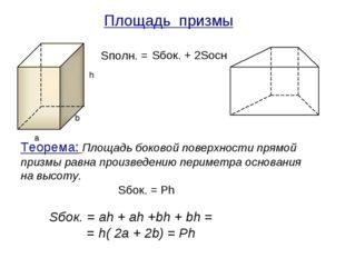 Площадь призмы Sбок. + 2Sосн Sбок. = Ph a b h Теорема: Площадь боковой поверх
