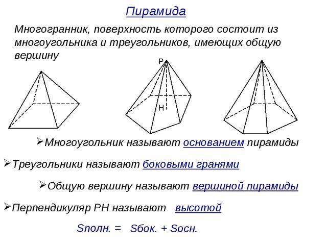 Презентация к уроку математики по теме Многогранники класс Многогранник поверхность которого состоит из многоугольника и треугольников
