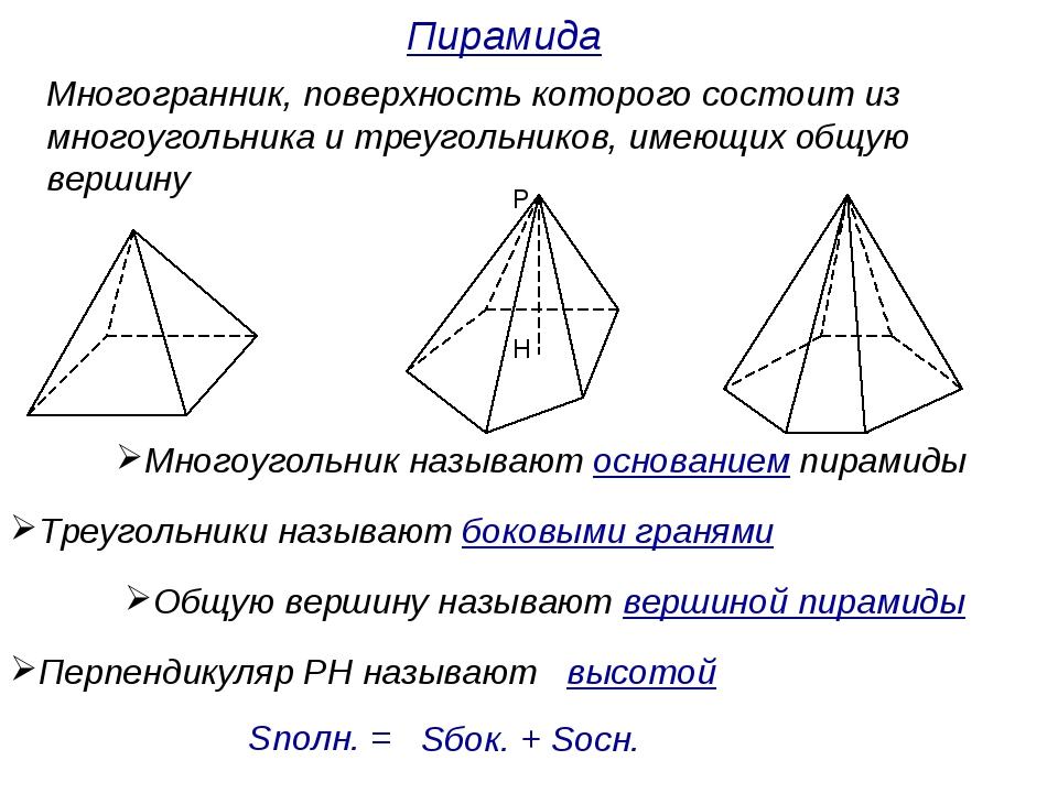 Многогранник, поверхность которого состоит из многоугольника и треугольников,...