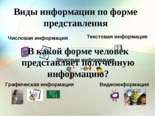 Виды информации по форме представления Числовая информация Текстовая информац