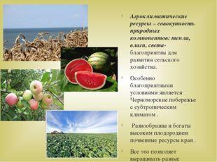 Агроклиматические ресурсы – совокупность природных компонентов: тепла, влаги,