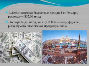 В 2015г. (оценка) бюджетные доходы $44,79млрд, расходы— $35,09млрд. Экспо