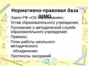 Нормативно-правовая база ШМО Закон РФ «Об образовании»; Устав образовательног