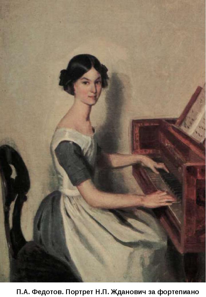 П.А. Федотов. Портрет Н.П. Жданович за фортепиано