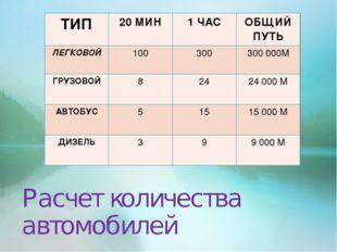 Расчет количества автомобилей ТИП20 МИН1 ЧАСОБЩИЙ ПУТЬ ЛЕГКОВОЙ10030030