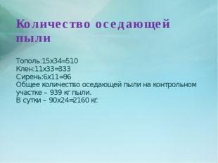 Количество оседающей пыли Тополь:15х34=510 Клен:11х33=333 Сирень:6х11=96 Обще