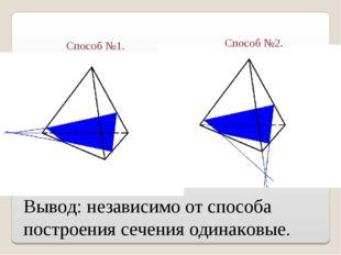 Вывод: независимо от способа построения сечения одинаковые. Способ №1. Способ