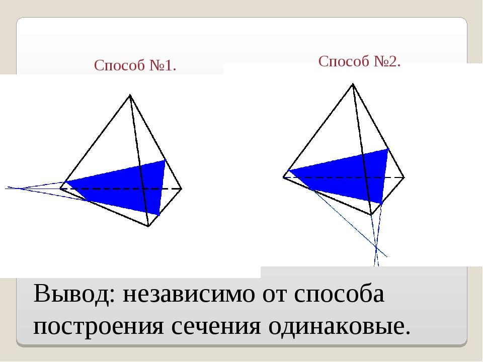 Вывод: независимо от способа построения сечения одинаковые. Способ №1. Способ...