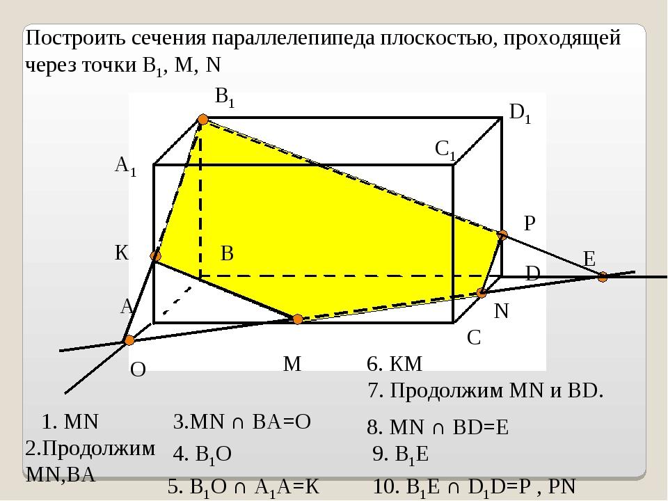 A1 А В В1 С С1 D D1 M N Построить сечения параллелепипеда плоскостью, проходя...