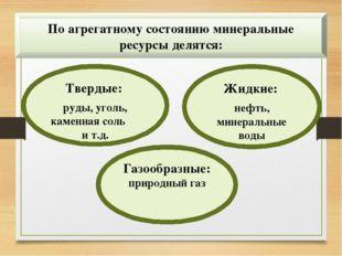 По агрегатному состоянию минеральные ресурсы делятся: Твердые: руды, уголь, к