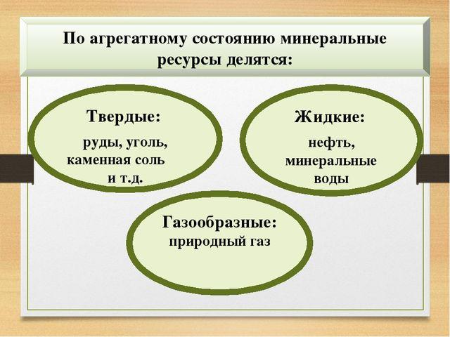 По агрегатному состоянию минеральные ресурсы делятся: Твердые: руды, уголь, к...