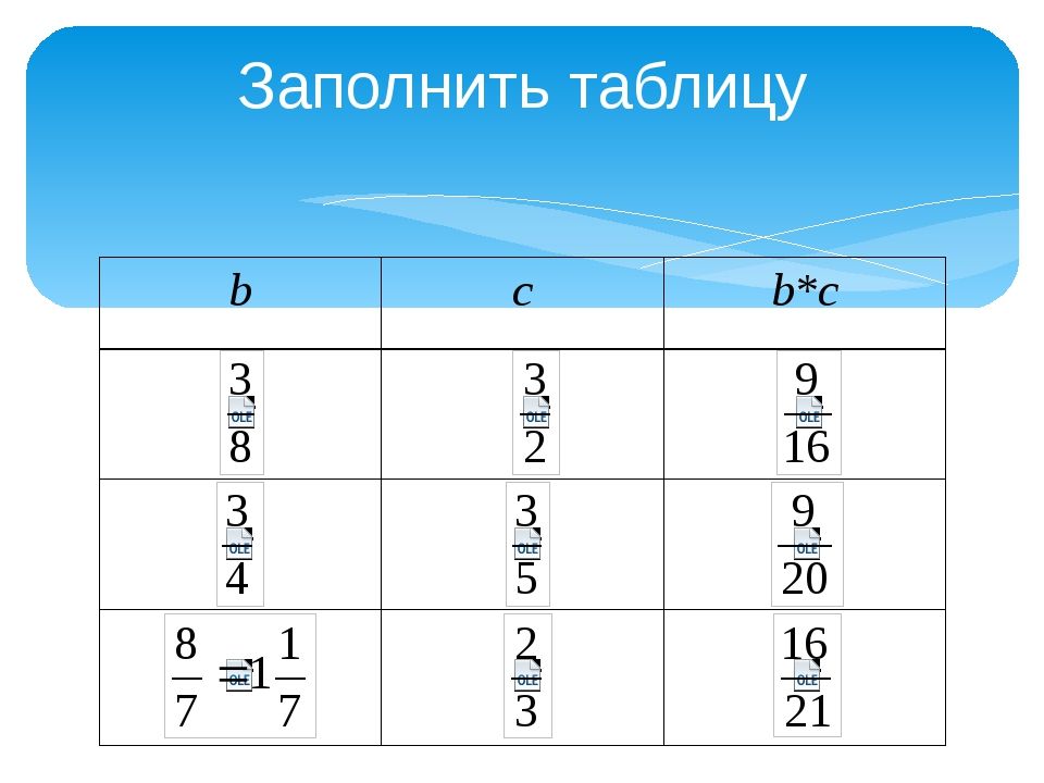 Заполнить таблицу b c b*c