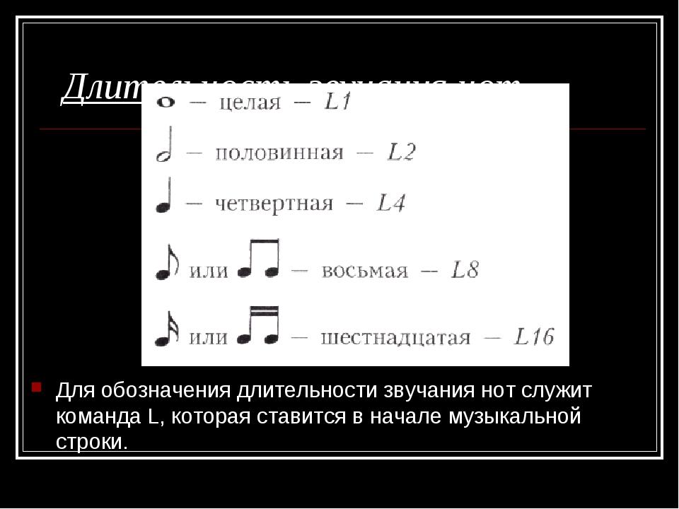 Длительность звучания нот Для обозначения длительности звучания нот служит ко...