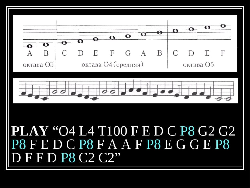 """PLAY """"O4 L4 T100 F E D C P8 G2 G2 P8 F E D C P8 F A A F P8 E G G E P8 D F F D..."""