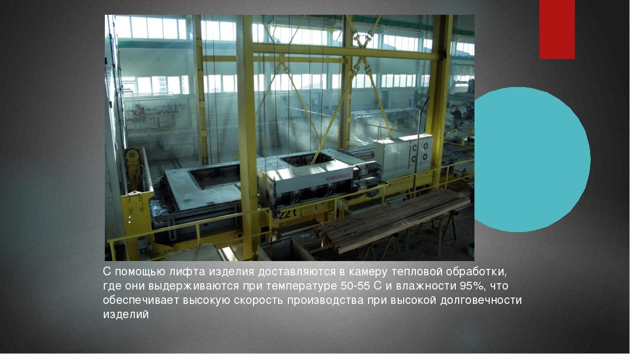 С помощью лифта изделия доставляются в камеру тепловой обработки, где они выд...
