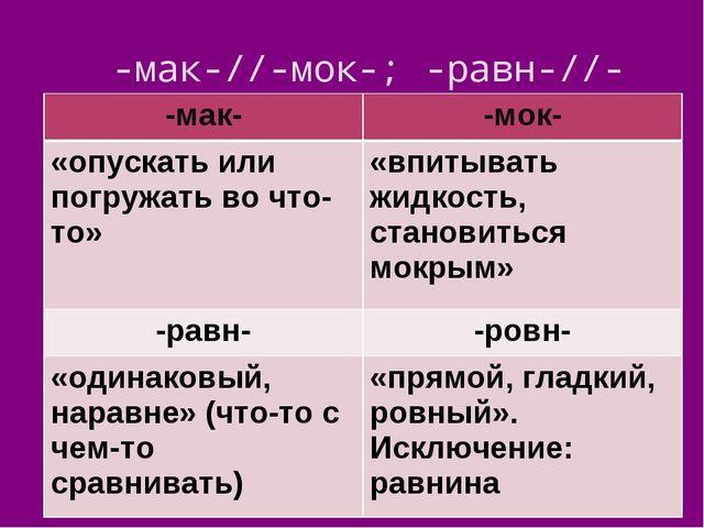-мак-//-мок-; -равн-//-ровн- -мак--мок- «опускать или погружать во что-то»«...