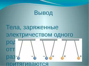 Вывод Тела, заряженные электричеством одного рода, взаимно отталкиваются, а п