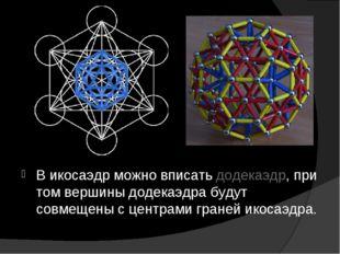 В икосаэдр можно вписать додекаэдр, при том вершины додекаэдра будут совмещен