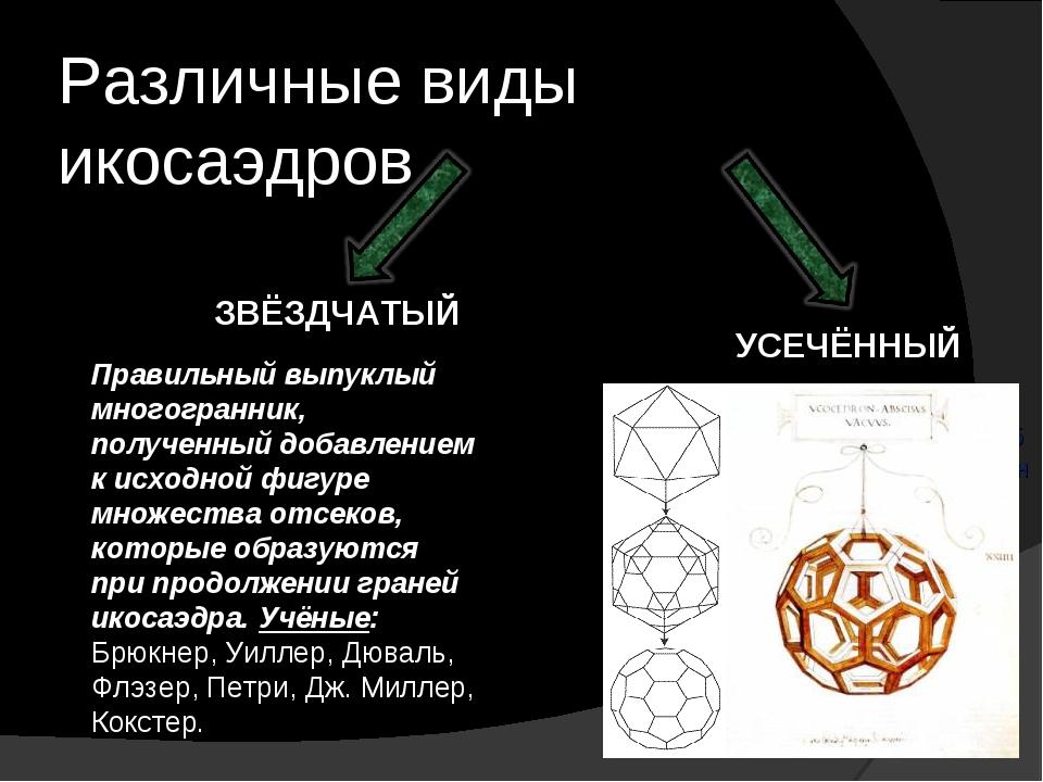 Различные виды икосаэдров ЗВЁЗДЧАТЫЙ УСЕЧЁННЫЙ Правильный выпуклый многогранн...