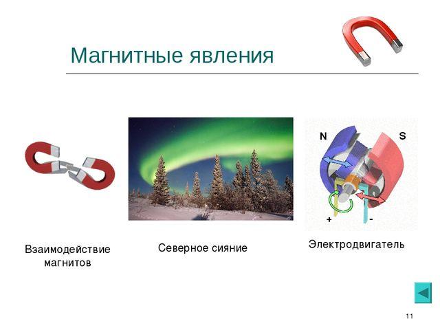 * Магнитные явления Взаимодействие магнитов Северное сияние Электродвигатель