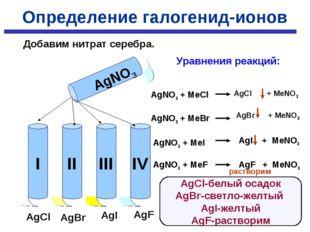 AgNO3 AgCl AgBr AgI AgF Уравнения реакций: AgNO3 + MeCl AgNO3 + MeBr AgNO3 +